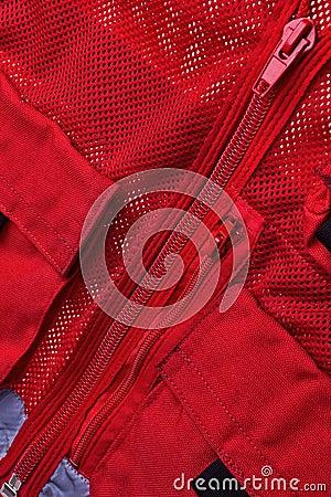 Red rescue vest.