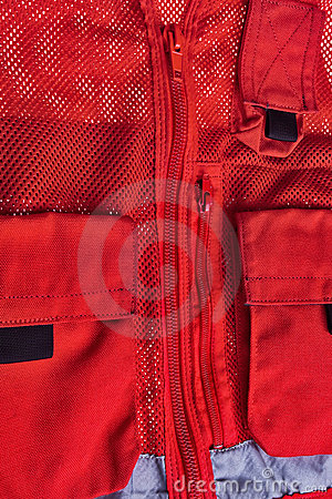 Red rescue vest.