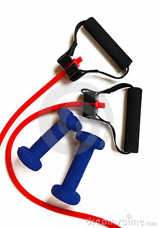 Red Resistance Band and Blue Weights