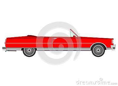 Red retro cabriolet.