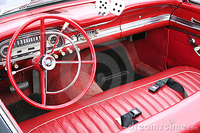 Red retro car interior