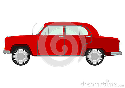 Red retro car.