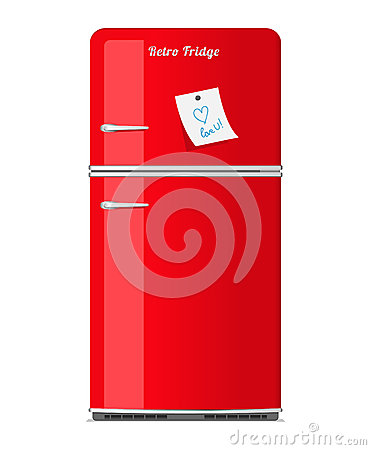 Red retro fridge with paper note