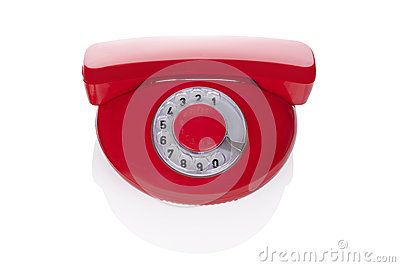 Red retro phone.