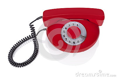 Red retro phone.
