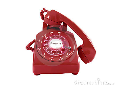 A red retro rotary phone