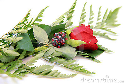 Red Rhinestone Ring and Rose