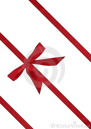 Red ribbon from bow