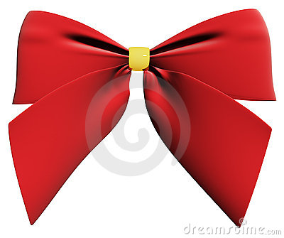 Red ribbon bow 3d render