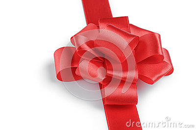Red ribbon bow angle photo