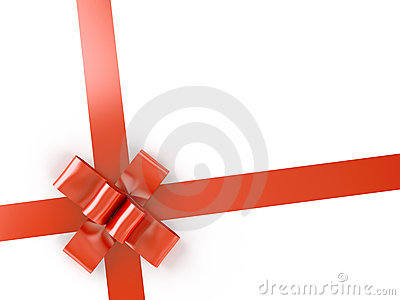Red ribbon and bow isolated on