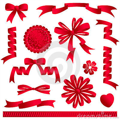 Free Red Ribbon Bows, Banners, Etc. Stock Photos - 3950113