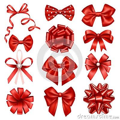 Red ribbon bows Vector Illustration