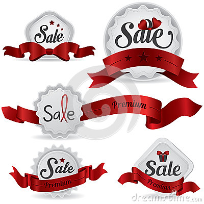 Red ribbon glossy sale badges with various shape a