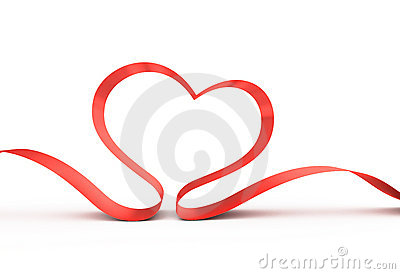 Red ribbon in a heart shape.
