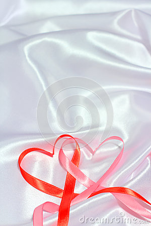 Free Red Ribbon Hearts Stock Images - 37404294