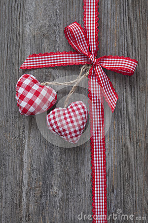 Red ribbon with hearts