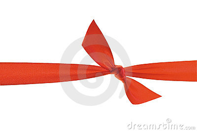 Red ribbon with knot.
