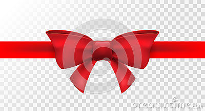 Red ribbon with red bow. Vector isolated bow decoration for holiday present. Gift element for card design Vector Illustration