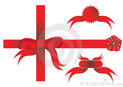 Red ribbon round a plain white present