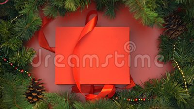 Red ribbon untying and giftbox with wooden christmas toys opening, decoration. Stock footage stock video
