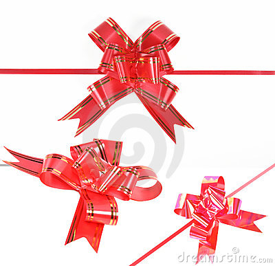 Red ribbon on white