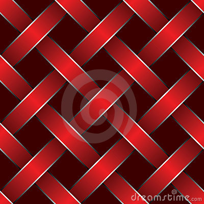Red ribbon woven