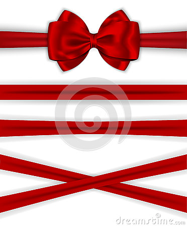 Red ribbons with luxurious bow for decorating gifts and cards