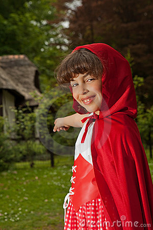 Red riding hood pointing