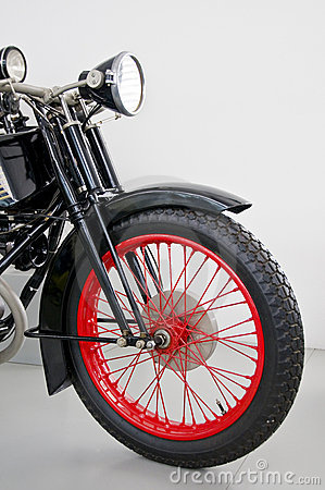 Red rimmed mororcycle