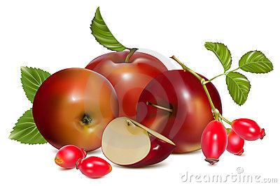 Red ripe apples and rose hip (dog rose hips).