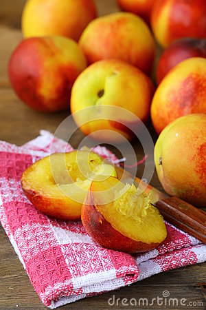 Red ripe peaches