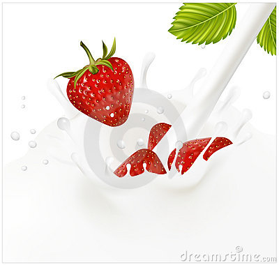 Red ripe  strawberry falling into the milky splash