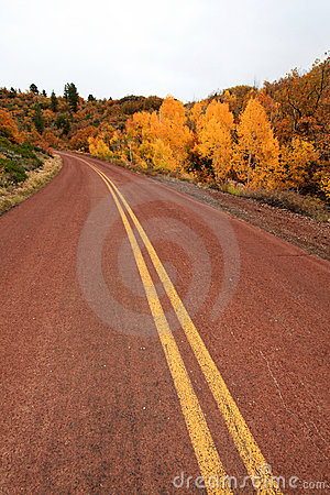 Red road in autumn scenery