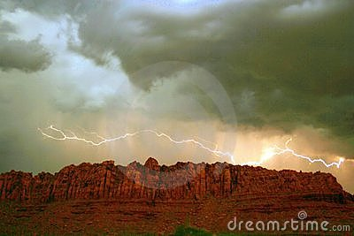 Red Rock Cliff Lighting