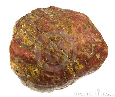 Red rock with yellow intrusions