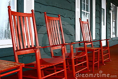 Red Rockers on a Porch