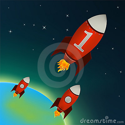 Red Rockets flying in outer space. Vector