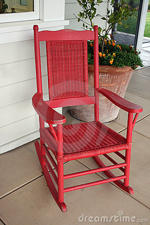 Red Rocking Chair Stock Image