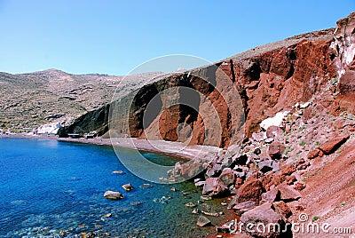 Red rocks, beach - Santorini island, Greece