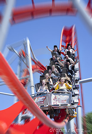 Red roller coaster  Editorial Photo