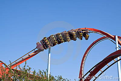 Red Roller Coaster At Port Aventura Park, Spain Royalty Free Stock Photo - Image: 19712835