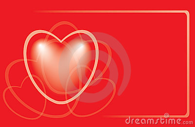 Red romantic card with heart - vector