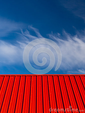 Red Roof Blue Sky White Clouds Abstract