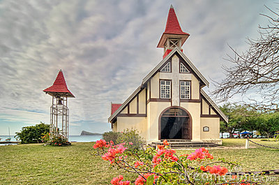 Red roofed church
