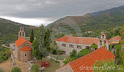 Red roofed church in Montenegro