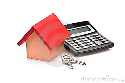 Red roofed house with calculator and house keys
