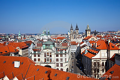 Red roofs of Old Town, Prague