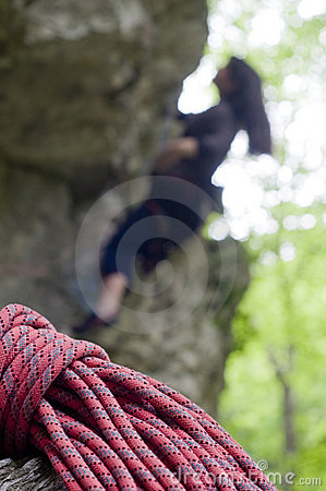 Red rope, blurred climber