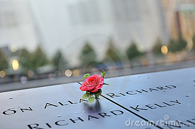 Red rose on 911 memorial Editorial Stock Image